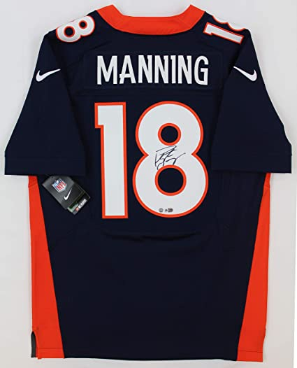 Peyton Manning Autographed Blue Denver Broncos Jersey - Hand Signed By Peyton  Manning and Certified Authentic 8978344ba1e4f