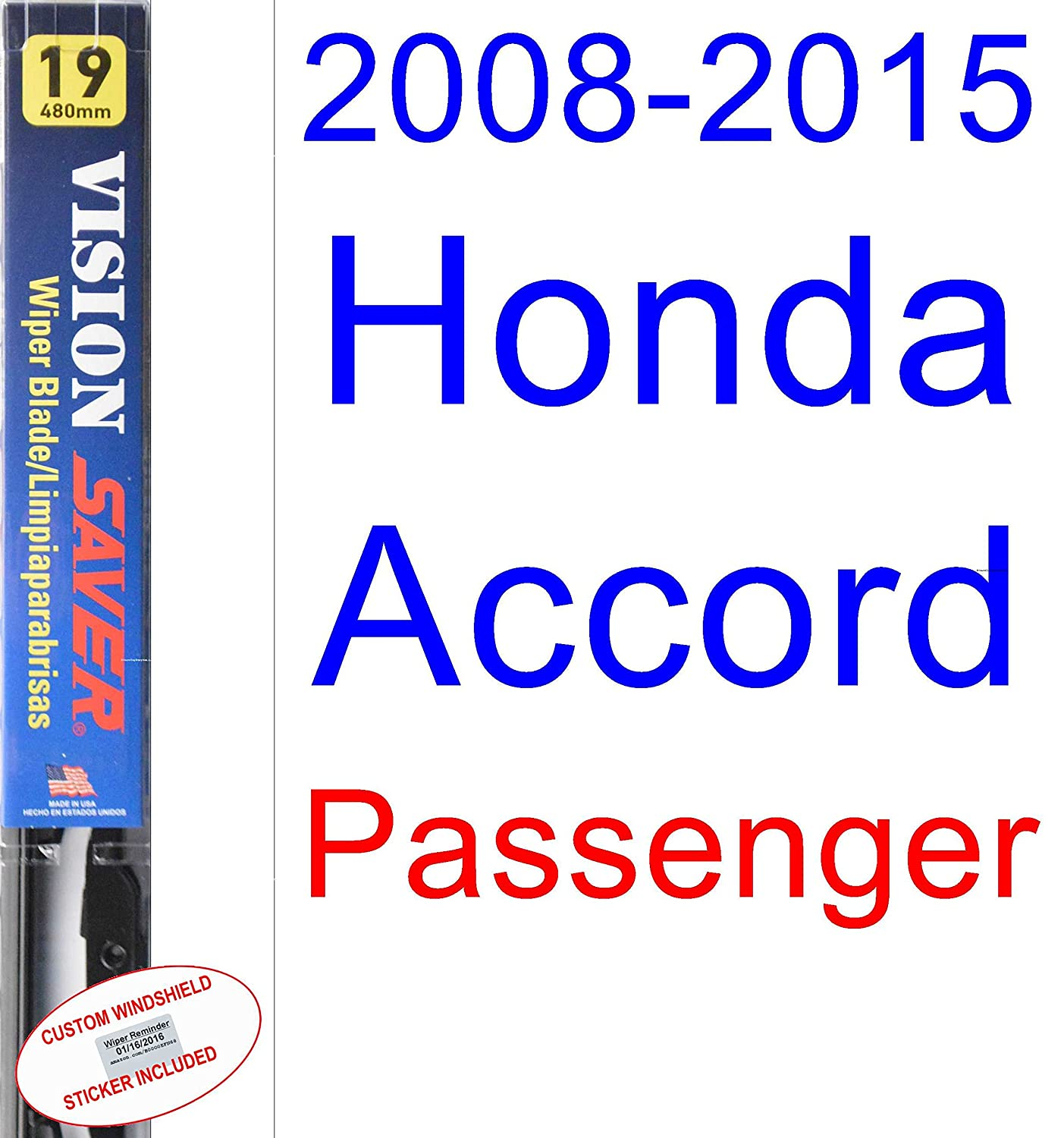 Amazon.com: 2008-2015 Honda Accord Wiper Blade (Driver) (Saver Automotive Products-Vision Saver) (2009,2010,2011,2012,2013,2014): Automotive