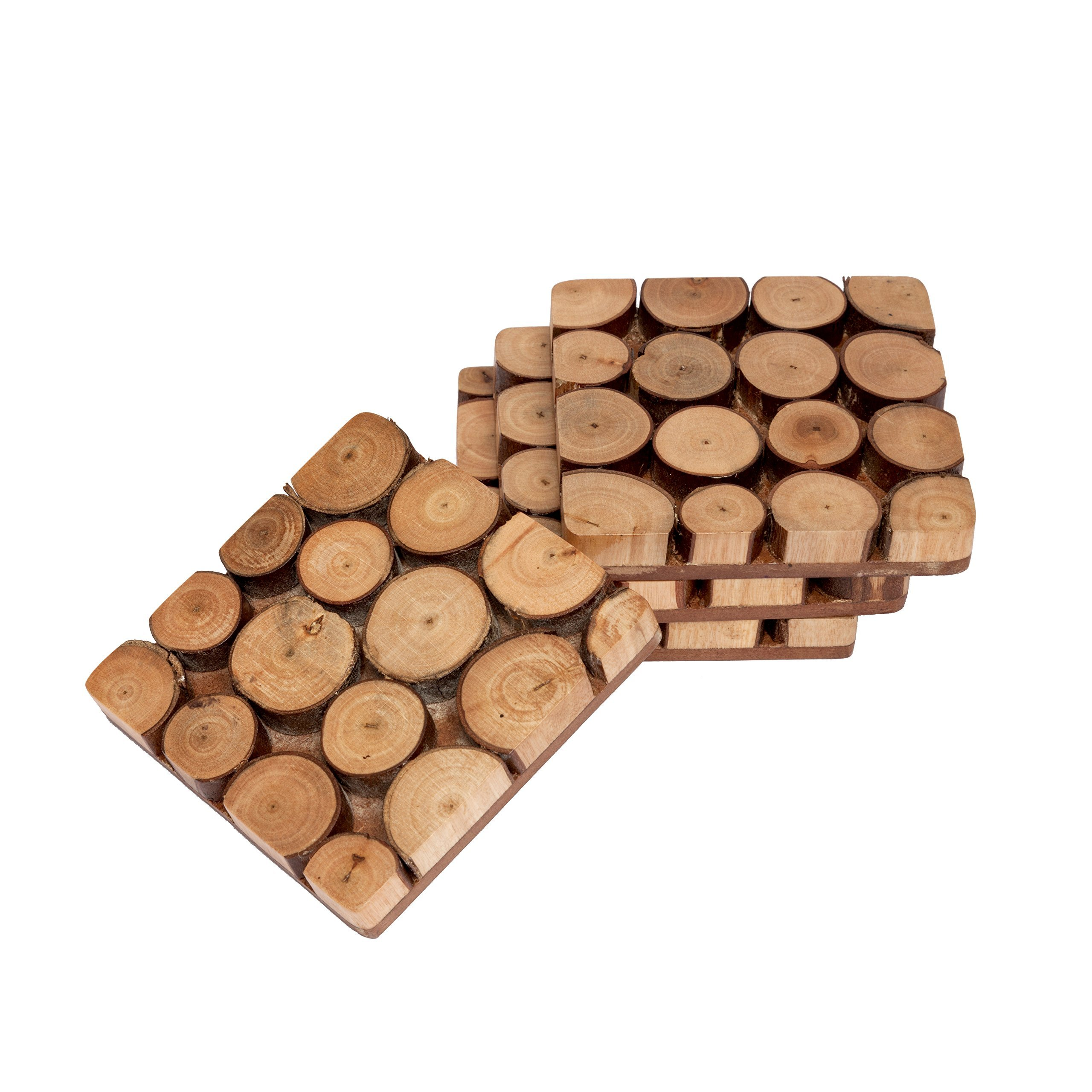 GoCraft Handmade Wood Coasters | Wood Slices with Tree Bark Coasters for your Drinks, Beverages & Wine/Bar Glasses (Set of 4)