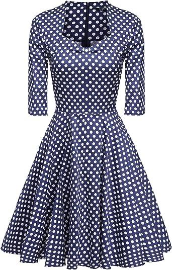Acevog Mujer Vintage Vestido Años 50 Falda Impresión Floral Sin ...