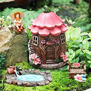 Fairy Garden Miniature Decor Kit, Garden Sculpture Statues House Gardening Accessories Gifts for Christmas Yard Decor Figurines Outdoor