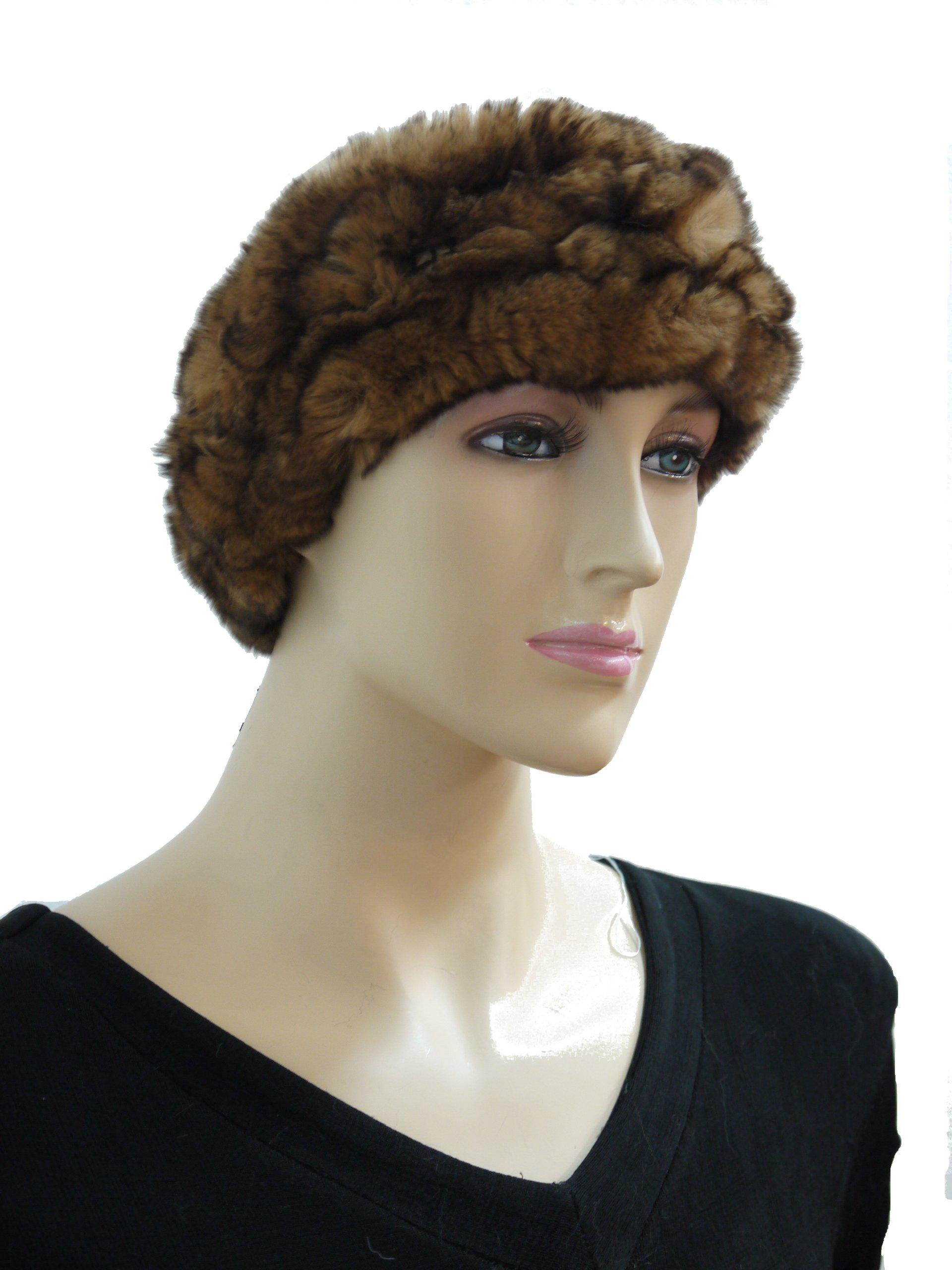 100% Rex Rabbit Fur Headband - Camel