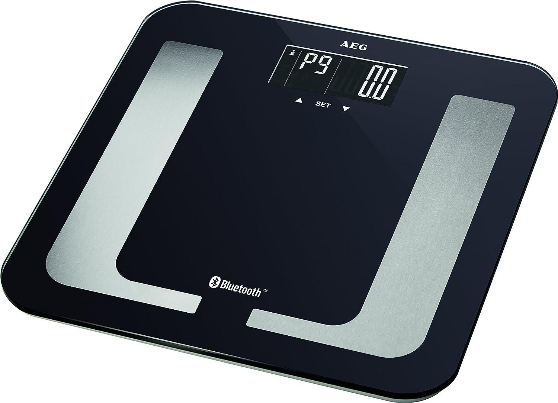 AEG PW 5653 BT - Báscula de baño digital con análisis grasa corporal de 8 funciones, Bluetooth compatible con Android e iOS, color negro y plata