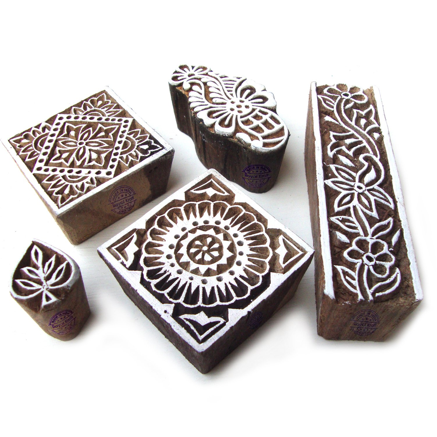 Hand Made Square and Floral Motif Wooden Stamps for Printing (Set of 5)