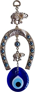 Erbulus Turkish Silver Horse Shoe Blue Evil Eye Wall Hanging Ornament with Elephant - Turkish Nazar Bead Amulet – Home Protection and Good Luck Charm Gift in a Box