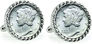 product image for American Coin Treasures Silver Mercury Dime Silvertone Rope Bezel Cuff Links