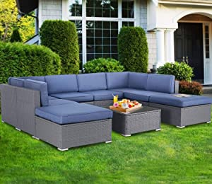 SOLAURA Outdoor Furniture 9-Piece Patio Sofa Modular Sectional Gray Wicker Conversation Set with Ottoman & Coffee Table, Navy Blue