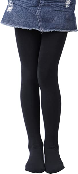 Girls 300 Denier Opaque Warm Fleece Lined Tights Thermal Winter Tights