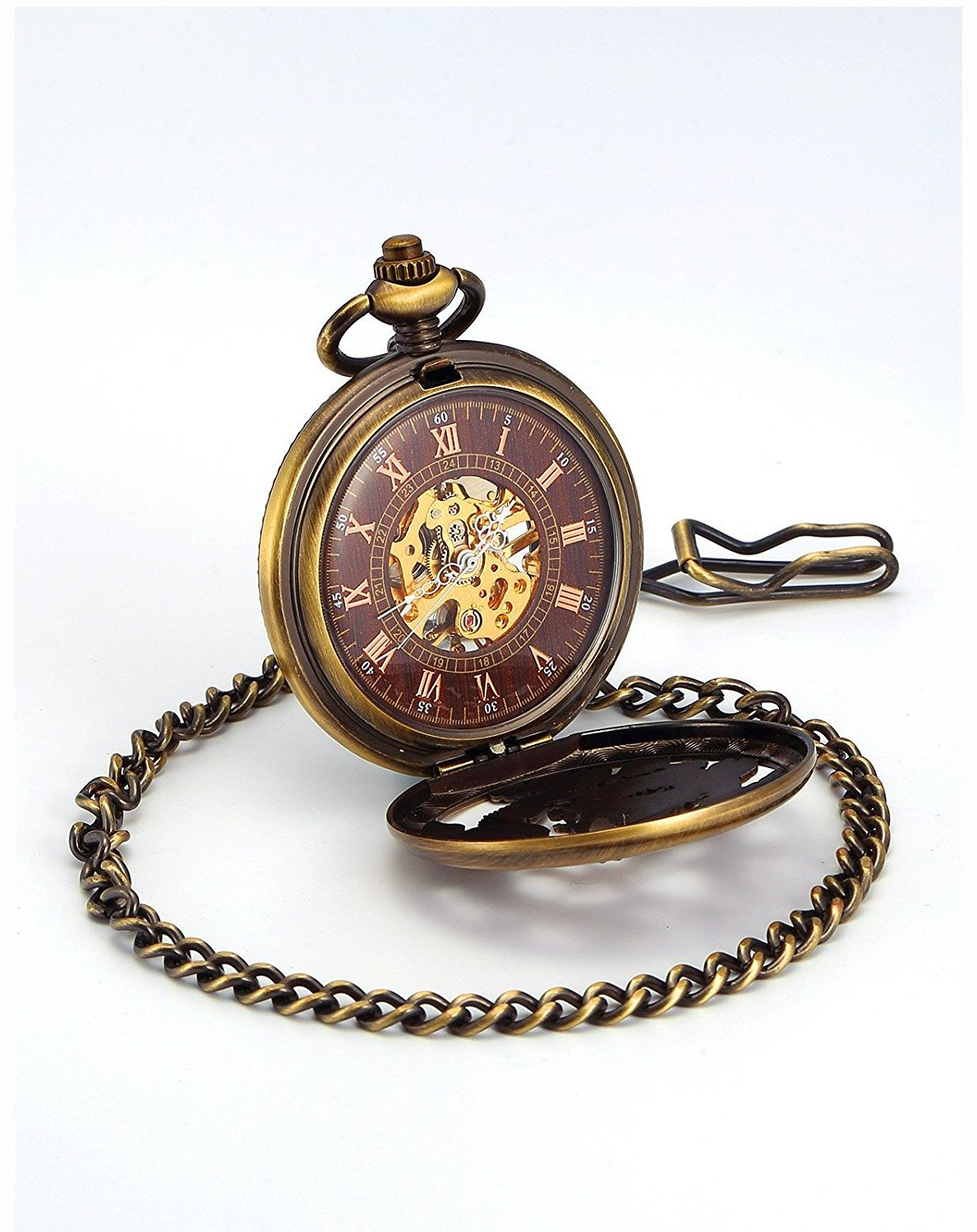 Carrie Hughes Men's Dragon Phoenix Engraving Steampunk Skeleton Mechanical Pocket Watch with Chain CH223 5