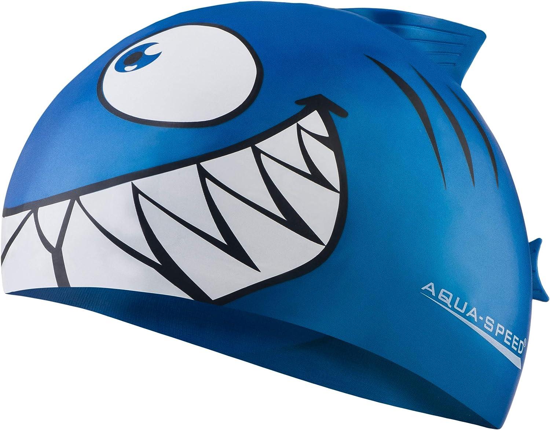 Aqua Speed - SHARK Niños Gorro de baño | Tiburón | 100% Silicona