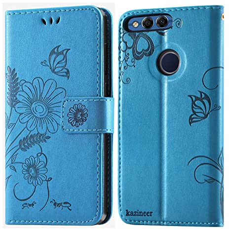 kazineer Funda Honor 7X, Honor 7X Funda de Cuero Cartera Carcasa para Huawei Honor 7X Case - Azul Turquesa