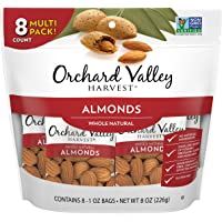 Orchard Valley Harvest, Whole Natural Almonds, 1 oz (Pack of 8), Non-GMO, No Artificial Ingredients