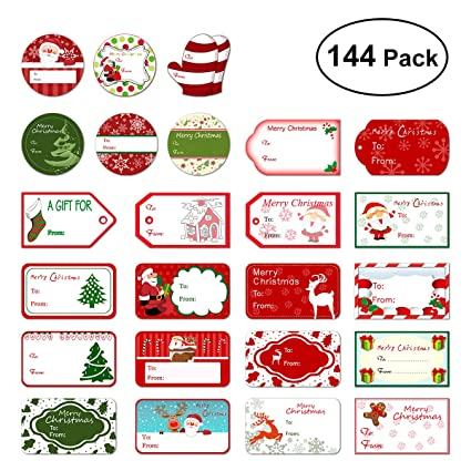 tinksky christmas self adhesive gift tag stickers santa snowmen xmas tree deer christmas festival birthday wedding - Decorative Christmas Gift Tags