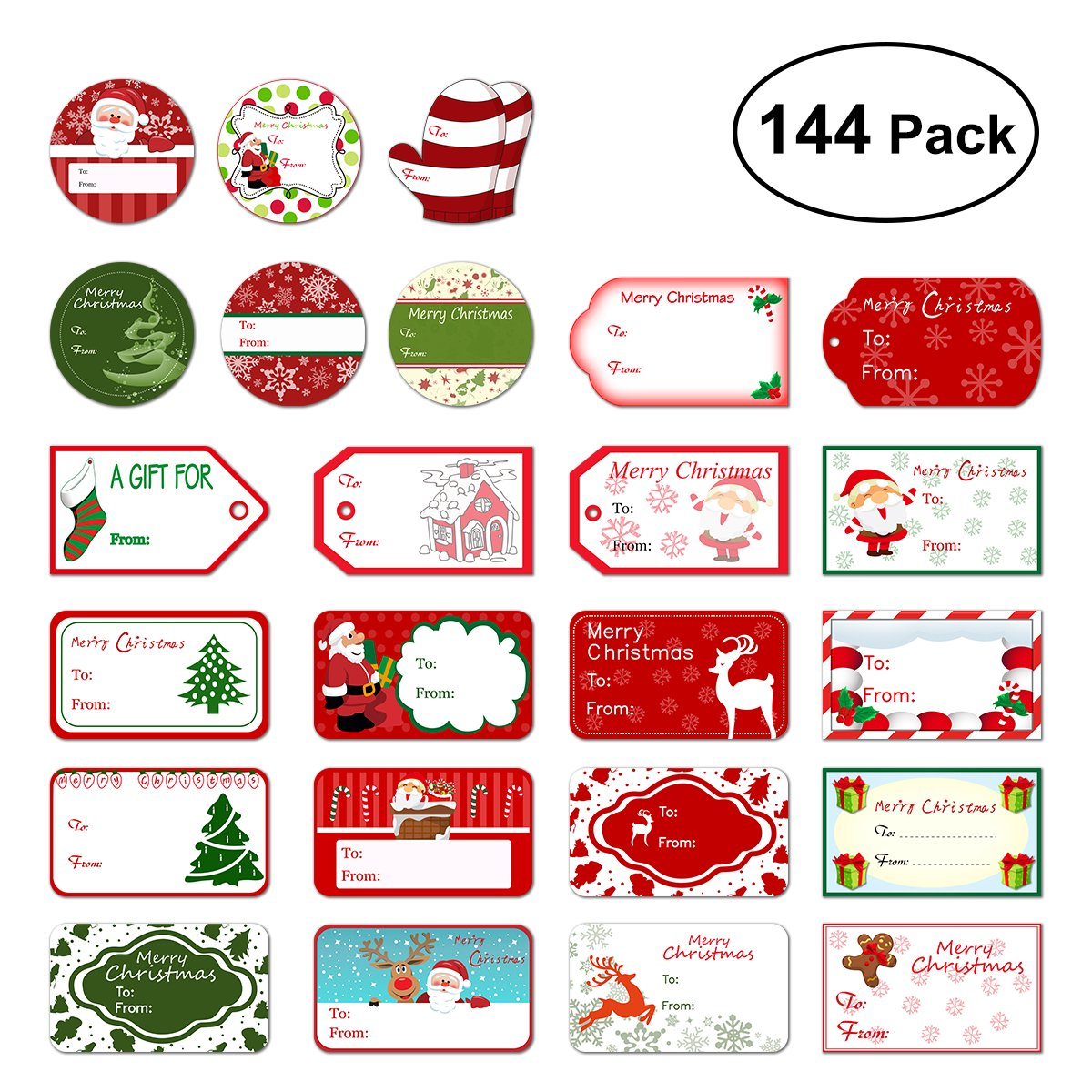 amazon com christmas gift tags 60 count with untied string 15