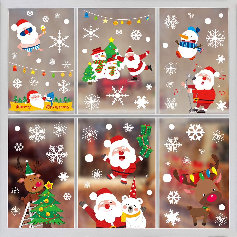 Christmas Snowflakes Santa Claus Wall Vinyl Stickers Art Window Xmas Decal U K