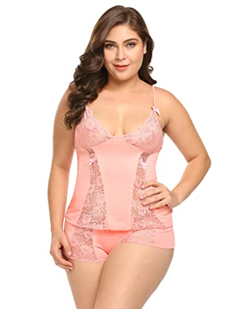 d19885478 Women s Plus Size Sexy Cami Lingerie Halter Stretch Babydoll Mini Sleepwear Lace  top and Short Sets
