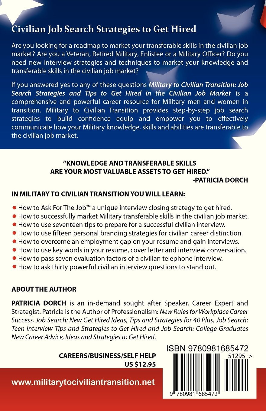 military to civilian transition patricia dorch  military to civilian transition patricia dorch 9780981685472 com books