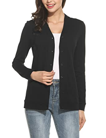 8c7b46d100 Meaneor Women s V Neck Button Down Long Sleeve Basic Soft Knit ...