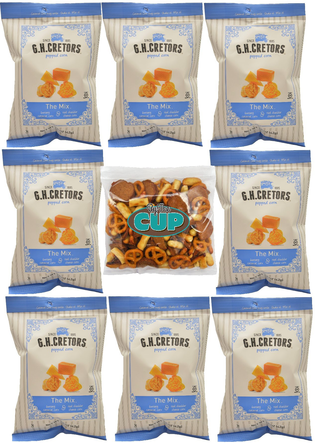 G.H. Cretors The Mix - 1.5 Ounce Single Serve Bags of Caramel and Cheddar Popcorn (Pack of 8) - With a 4 Ounce Bag of By The Cup Snack Mix