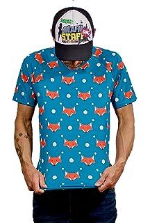 Camiseta Running Original Divertida Hombre, Manga Corta, Gimnasio #FoxBlue