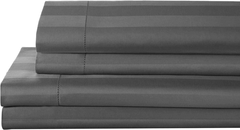 Elite Home Products T325 100% Pima Cotton Tuxedo Woven Stripe S/Set,Full,Charcoal