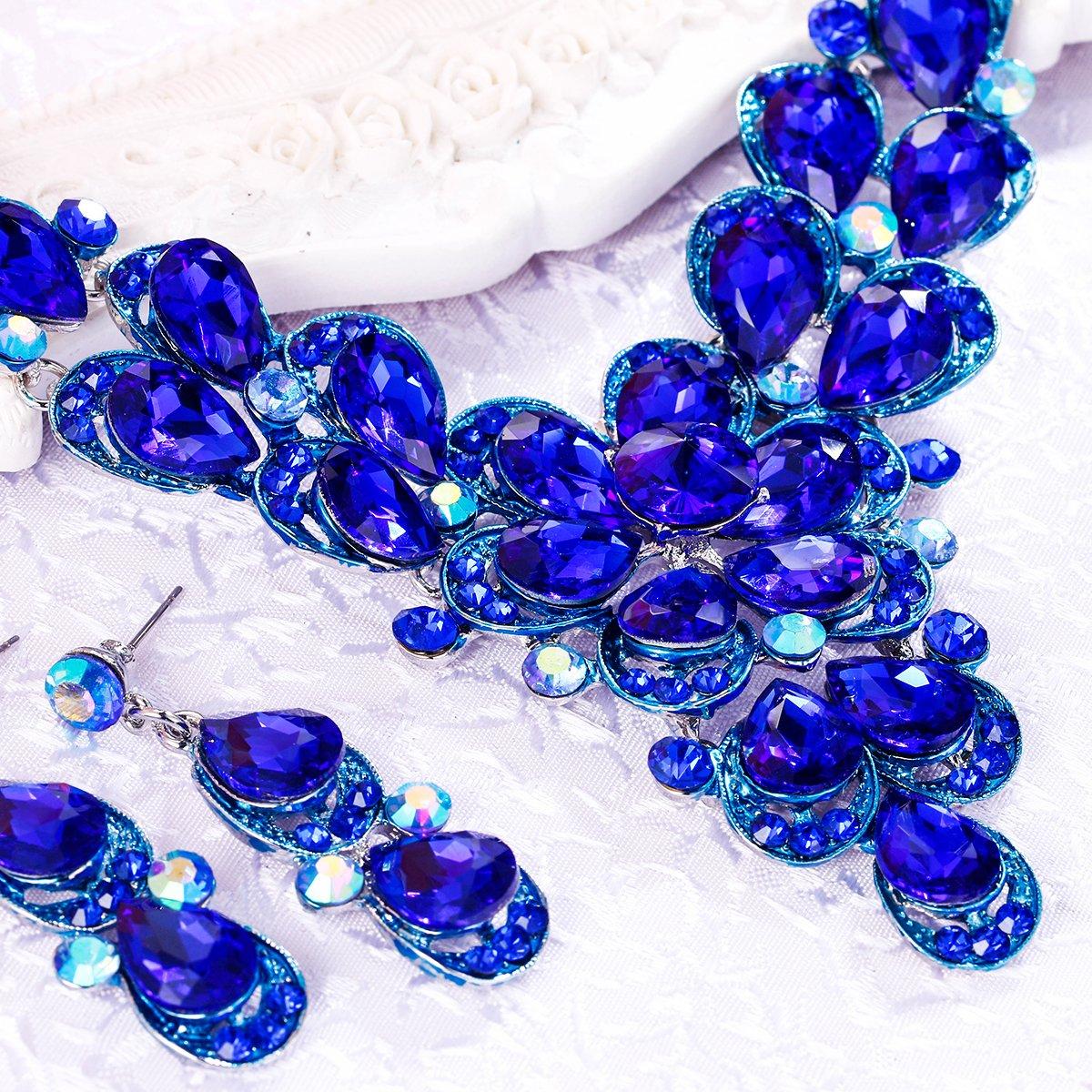 Clearine Femme Cristal Goutte Floral Collier Plastron Boucles doreilles Ensemble Mariage Mari/ée El/égant Bijou