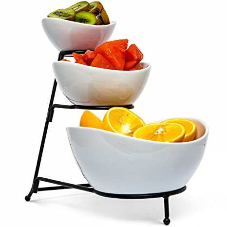 amazon com food serving bowl set 3 tier metal display stand with