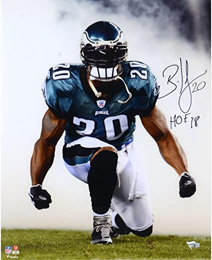 "69738f998f8 Brian Dawkins Philadelphia Eagles Autographed 16"" x 20"" Smoke  Photograph with""HOF 18"""