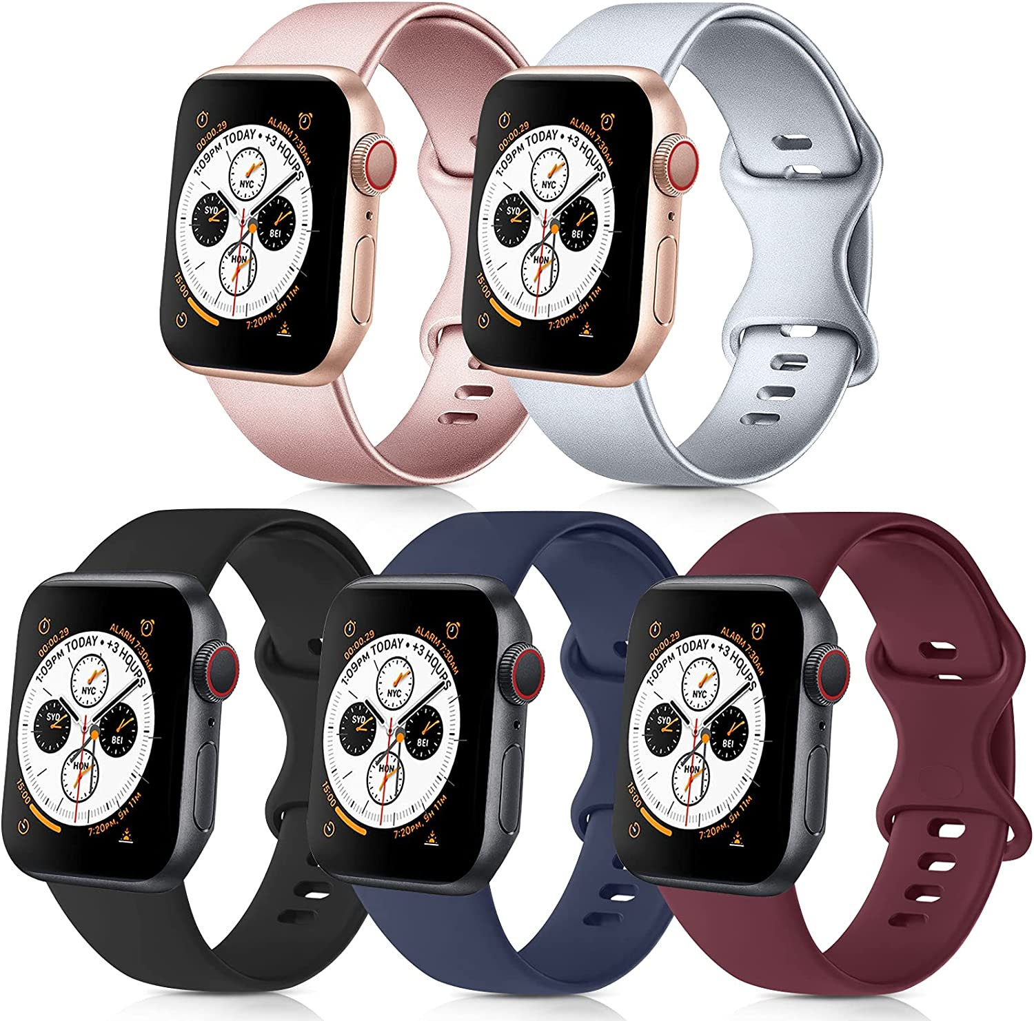 [Pack 5] Compatible with Apple Watch Bands 38mm 40mm for iWatch Series 6 5 4 3 2 1 SE (Black/Rose Gold/Silver/Navy Blue/Wine Red, 38mm/40mm M/L)