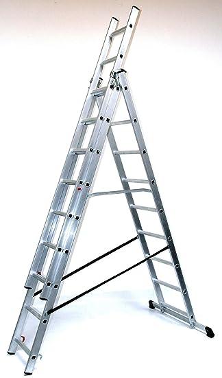 Trendig Alu-Schiebeleiter 3x12 Stufen / Sprossen, Arbeitshöhe: 7,8m  SI42