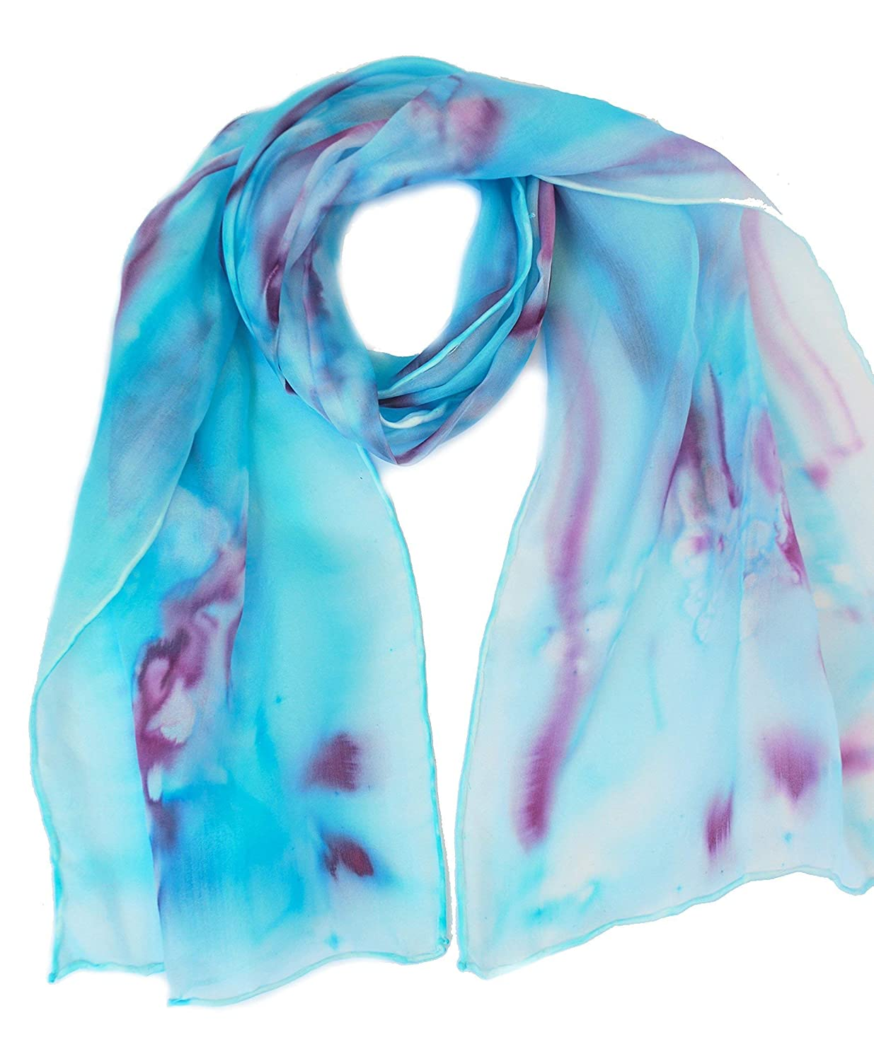 Silk scarf for women, hand painted silk scarves, Turquoise and Plum plus more colours, silk scarves for ladies, Turquoise scarf
