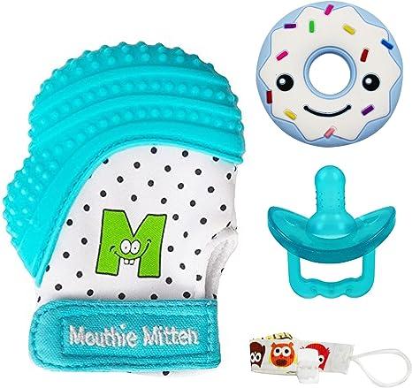 Anillo de dentición del bebé con el guante de dentición, el ...
