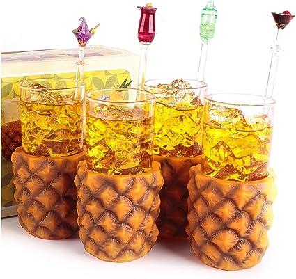 CKB Ltd® Pack de 4 Retro piña portavasos con Vasos Altos 285 ML – Vintage Hawaii – Diseño de Frutas en Caja de Regalo – Ideal para Ideal para un ...
