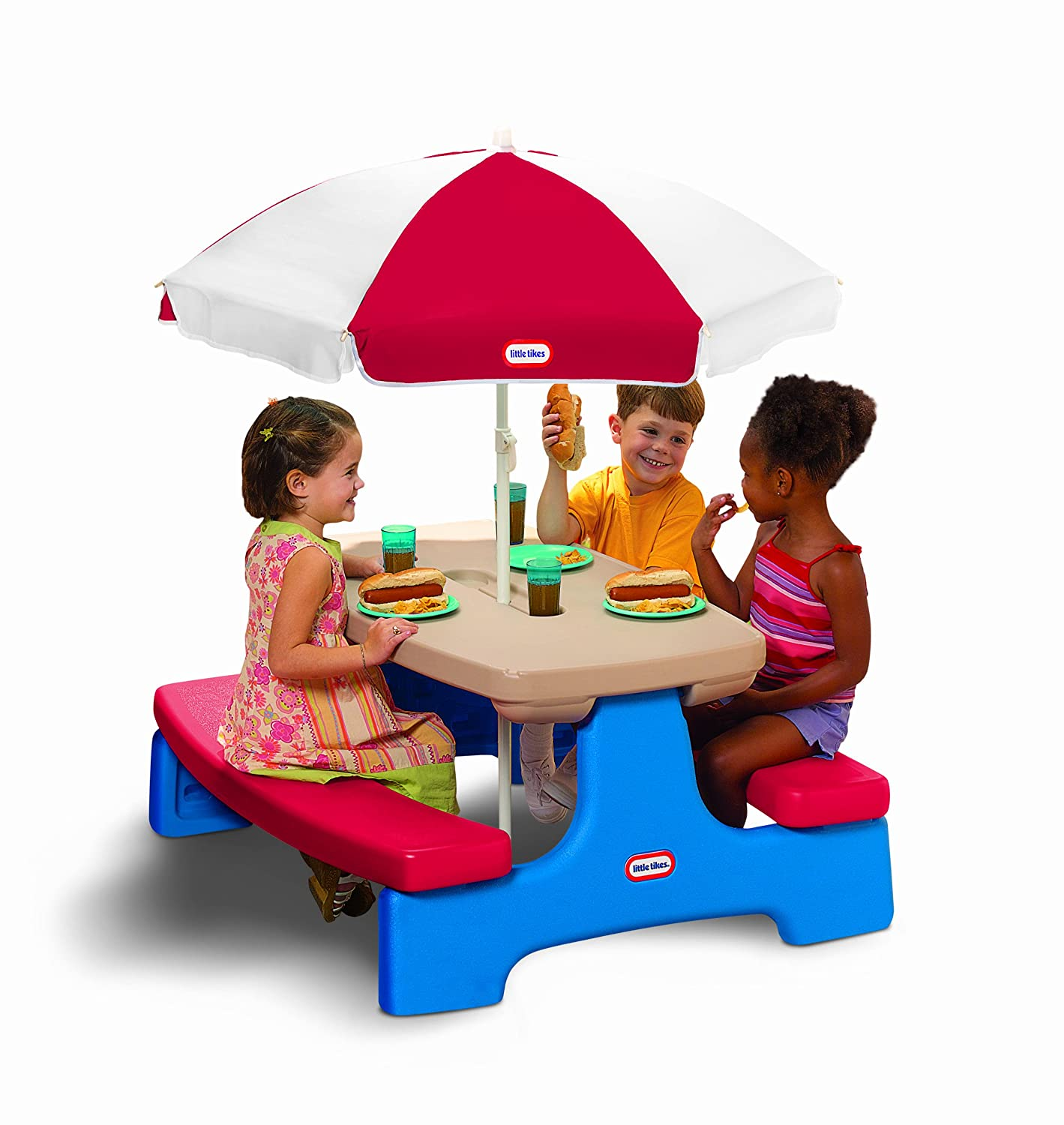 Amazon.com: Little Tikes Easy Store Large Picnic Table With Umbrella: Toys  U0026 Games