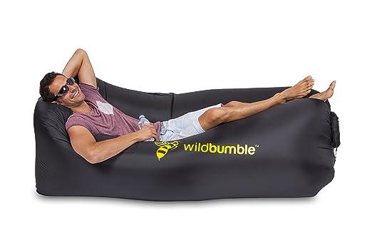 Tumbona inflable premium, silla portátil, sofá inflable fácilmente con bolsa de transporte, abridor de botellas, 3 bolsillos, para uso al aire libre como ...