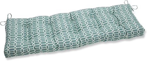 Pillow Perfect Outdoor Indoor Rave Peacock Tufted Bench Swing Cushion, 56 x 18 , Blue