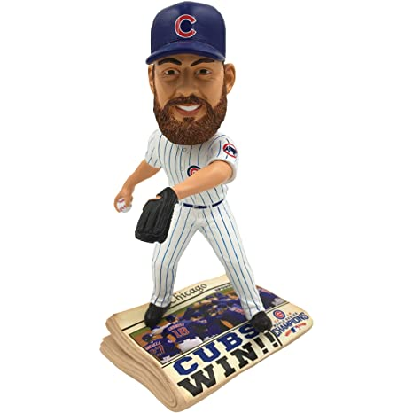 c03ff147b97 Image Unavailable. Image not available for. Color  Forever Collectibles Chicago  Cubs Jake Arrieta 2016 World Series Champions Newspaper Bobblehead