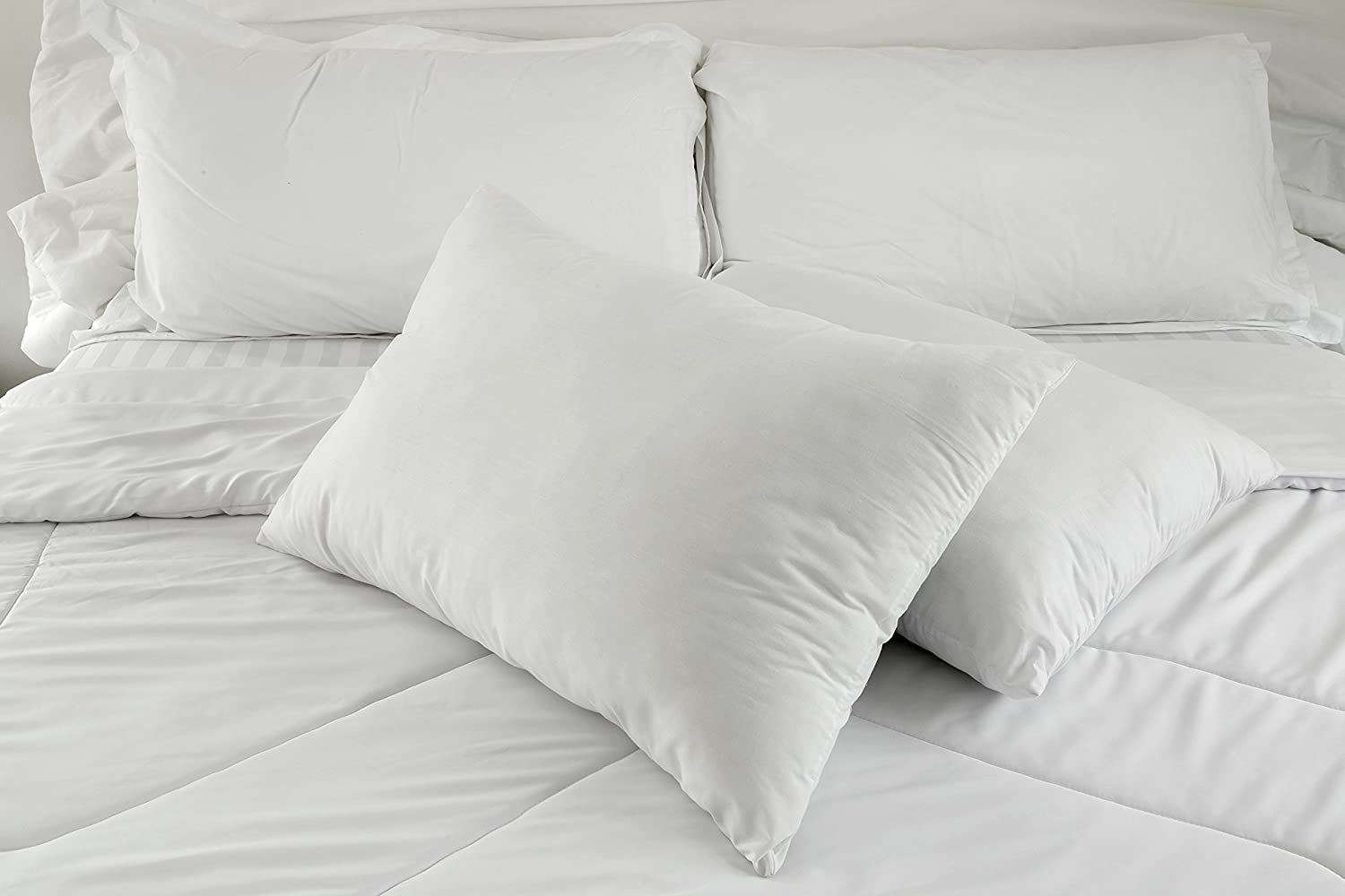 East Coast Bedding 50% White Goose Down + 50% White Goose Feather Contour Bed Pillows – Set of 2 - Hypoallergenic, Hotel Quality, Best for Back & Side Sleeping – 300 TC Cotton Shell (Queen)