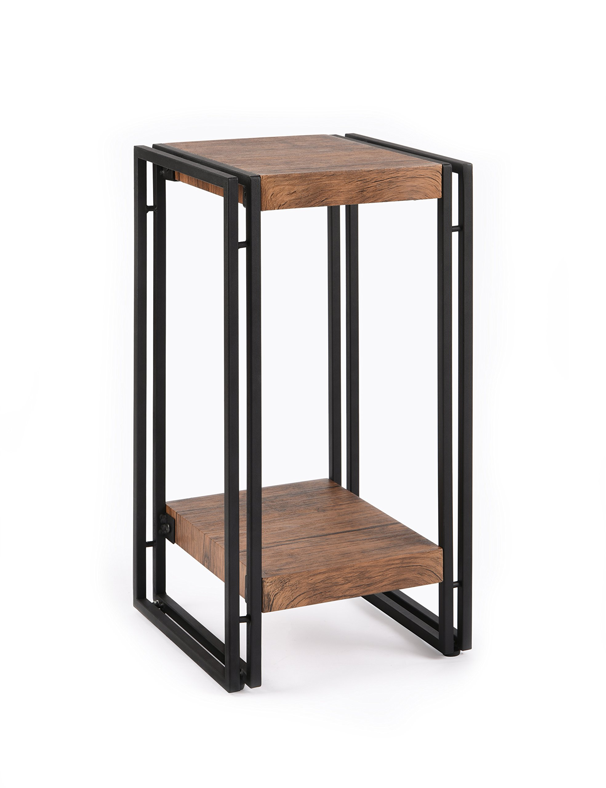FIVEGIVEN Accent Side Table for Small Spaces End Table Rustic Industrial Metal Brown 21.9 Inch by FIVEGIVEN
