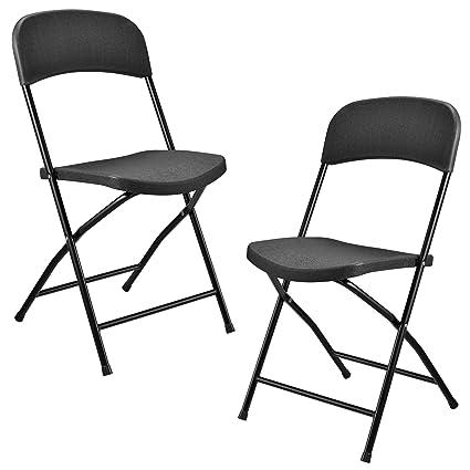 [casa.pro] Sillas Plegables de plástico - Set de 2 sillas - Gris Oscuro - fácilmente Plegables - perfectas para Acampar, Pescar, Fiestas y barbacoas