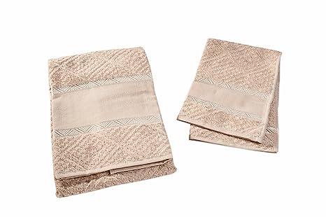 Set Esponja 1 + 1 toalla + invitados Color beige-tortora con inserto bordado Aida
