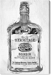 "Wynwood Studio Drinks and Spirits Wall Art Canvas Prints 'Bourbon Whiskey Night Silver' Home Décor, 20"" x 30"", Black, Gray"