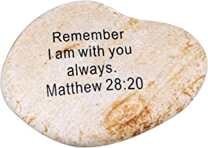 """Holy Land Market Extra Large Engraved Inspirational Scripture Biblical Natural Stones Collection - Stone I : Matthew 28:20 :"""" Remember I am with You Always."""