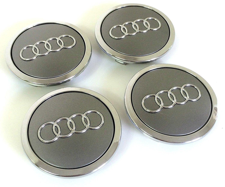 Set de quatre Audi Jantes en aluminium au milieu Moyeu Caches Gris Capuchons insigne 69mm 4b0601170a 8t0601170A compatible avec Audi Lot de quatre Moyeu Roue milieu en aluminium Capuchons Couvert