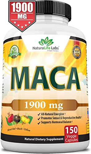 Organic Maca Root Black, Red, Yellow 1900 MG per Serving – 150 Vegan Capsules Peruvian Maca Root Gelatinized 100 Pure Non-GMO Supports Reproductive Health Natural Energizer