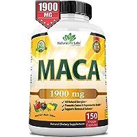 Organic Maca Root Black, Red, Yellow 1900 MG per Serving - 150 Vegan Capsules Peruvian Maca Root Gelatinized 100% Pure…
