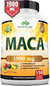 Organic Maca Root Black, Red, Yellow 1900 MG - 150 Vegan Capsules Peruvian Maca Root Gelatinized 100% Pure Non-GMO Supports Reproductive Health Natural Energizer