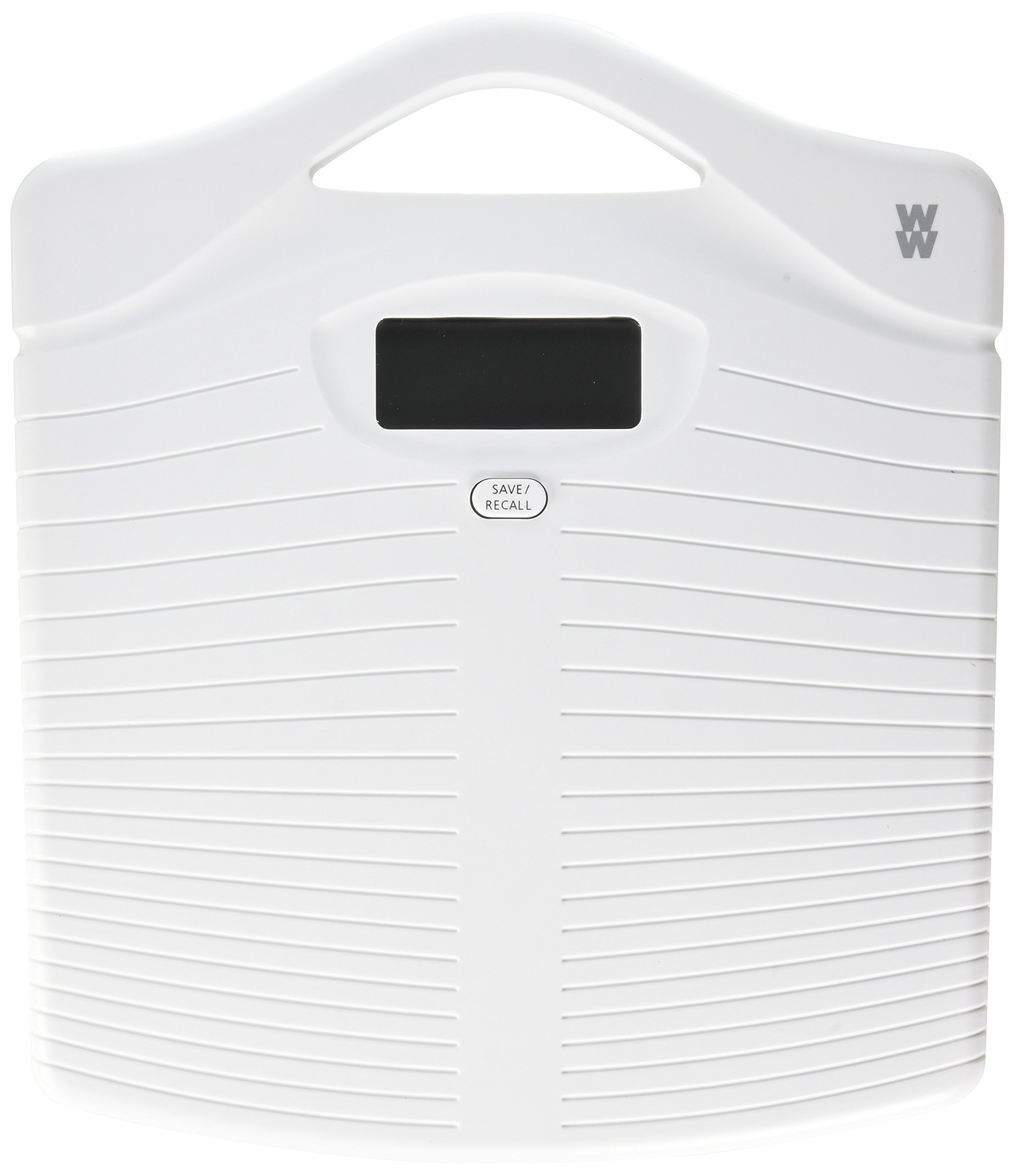 Weight Watchers by Conair Portable Precision Electronic Bathroom Scale with Handle; 330 lb. capacity; Durable Non-Slip Plastic Platform Bath Scale; White