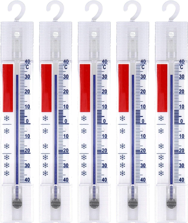 Lantelme Termómetro 5 Piezas Sistema frigorífico, congelador, Nevera, Nevera termómetro. analógico con Ganchos visualización de la Temperatura + / - 40 ° c 3293