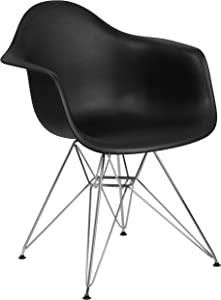 Flash Furniture Alonza Series Black Plastic Chair with Chrome Base